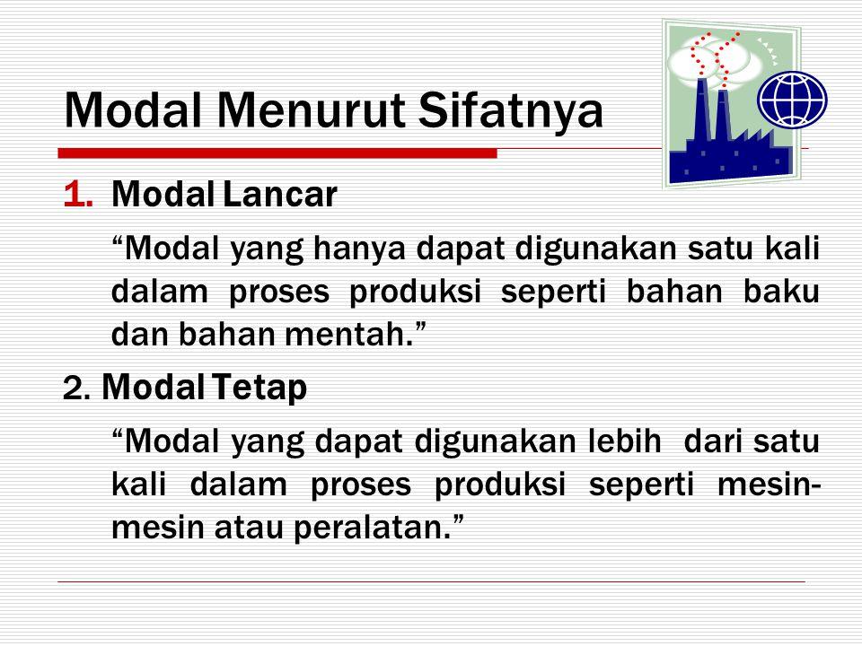 "Modal Menurut Sifatnya 1.Modal Lancar ""Modal yang hanya dapat digunakan satu kali dalam proses produksi seperti bahan baku dan bahan mentah."" 2. Modal"