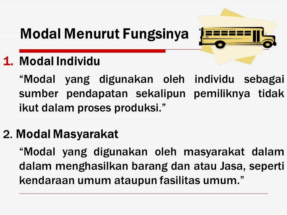 "Modal Menurut Fungsinya 1.Modal Individu ""Modal yang digunakan oleh individu sebagai sumber pendapatan sekalipun pemiliknya tidak ikut dalam proses pr"