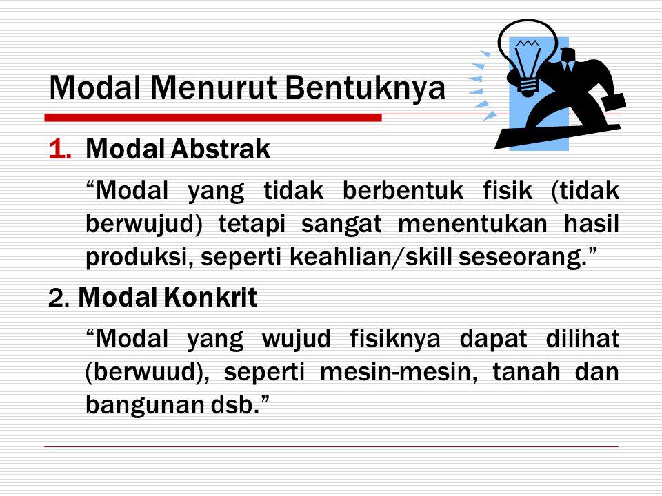 """Modal Menurut Bentuknya 1.Modal Abstrak """"Modal yang tidak berbentuk fisik (tidak berwujud) tetapi sangat menentukan hasil produksi, seperti keahlian/s"""