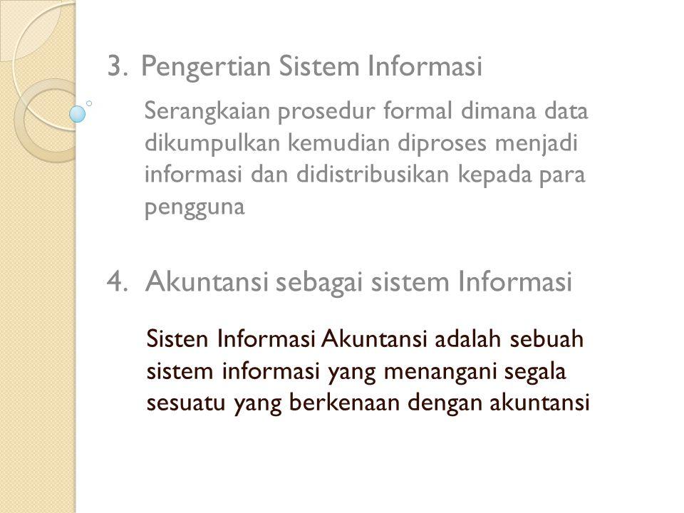 Sisten Informasi Akuntansi adalah sebuah sistem informasi yang menangani segala sesuatu yang berkenaan dengan akuntansi 3.Pengertian Sistem Informasi