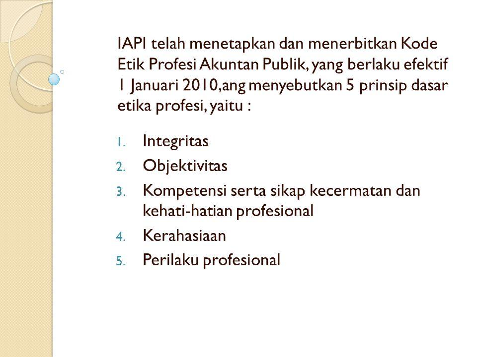 IAPI telah menetapkan dan menerbitkan Kode Etik Profesi Akuntan Publik, yang berlaku efektif 1 Januari 2010,ang menyebutkan 5 prinsip dasar etika prof
