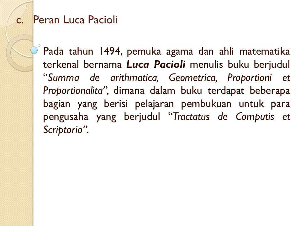 """c. c.Peran Luca Pacioli Pada tahun 1494, pemuka agama dan ahli matematika terkenal bernama Luca Pacioli menulis buku berjudul """"Summa de arithmatica, G"""