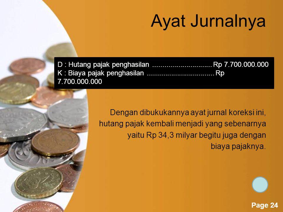 Powerpoint Templates Page 23 Selisih Hutang Pajak Contoh Perhitungan pajak berdasarkan laporan laba rugi yang belum dikoreksi adalah sebesar Rp 120 milyar * 35% atau sebesar Rp 42 milyar.