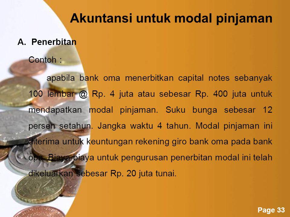 Powerpoint Templates Page 32 Akuntansi modal pinjaman Transaksi modal pinjaman dengan penerbitan warkat (loan stock atau capital notes) harus dicatat oleh bank menurut nilai nominalnya.
