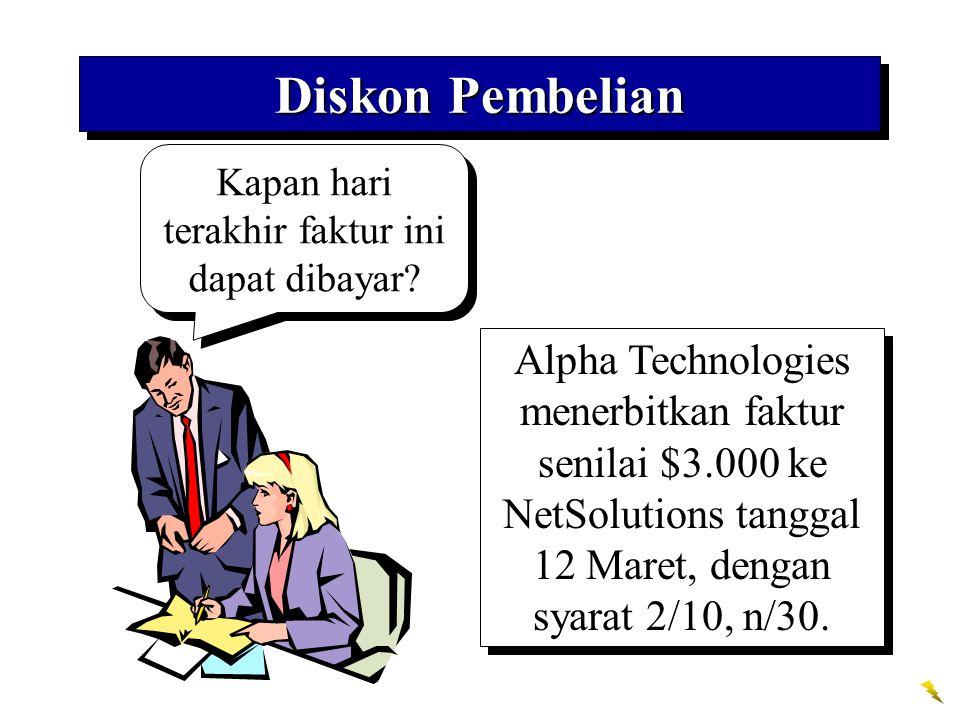 Kapan hari terakhir faktur ini dapat dibayar? Diskon Pembelian Alpha Technologies menerbitkan faktur senilai $3.000 ke NetSolutions tanggal 12 Maret,