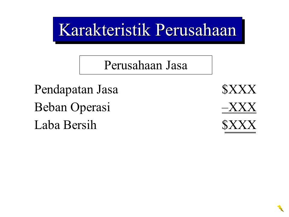 Perusahaan Jasa Pendapatan Jasa$XXX Beban Operasi–XXX Laba Bersih$XXX Karakteristik Perusahaan