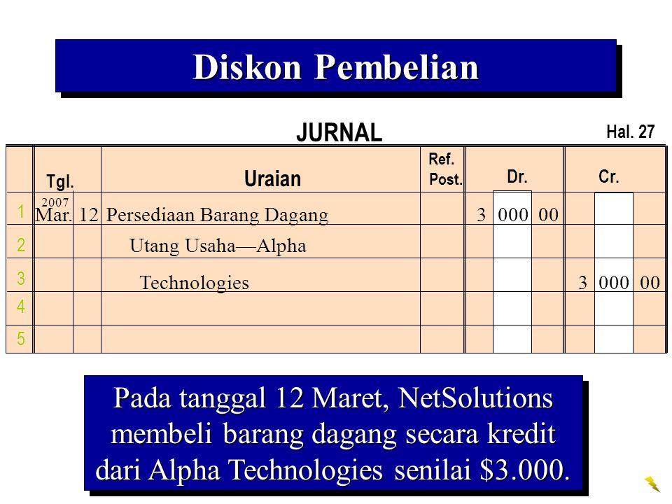 JURNAL Tgl. Uraian Ref. Post. Dr. Cr. 1 2 3 4 Hal. 27 5 Pada tanggal 12 Maret, NetSolutions membeli barang dagang secara kredit dari Alpha Technologie