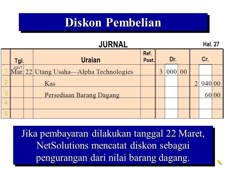 JURNAL Tgl. Uraian Ref. Post. Dr. Cr. 1 2 3 4 Hal. 27 5 Jika pembayaran dilakukan tanggal 22 Maret, NetSolutions mencatat diskon sebagai pengurangan d
