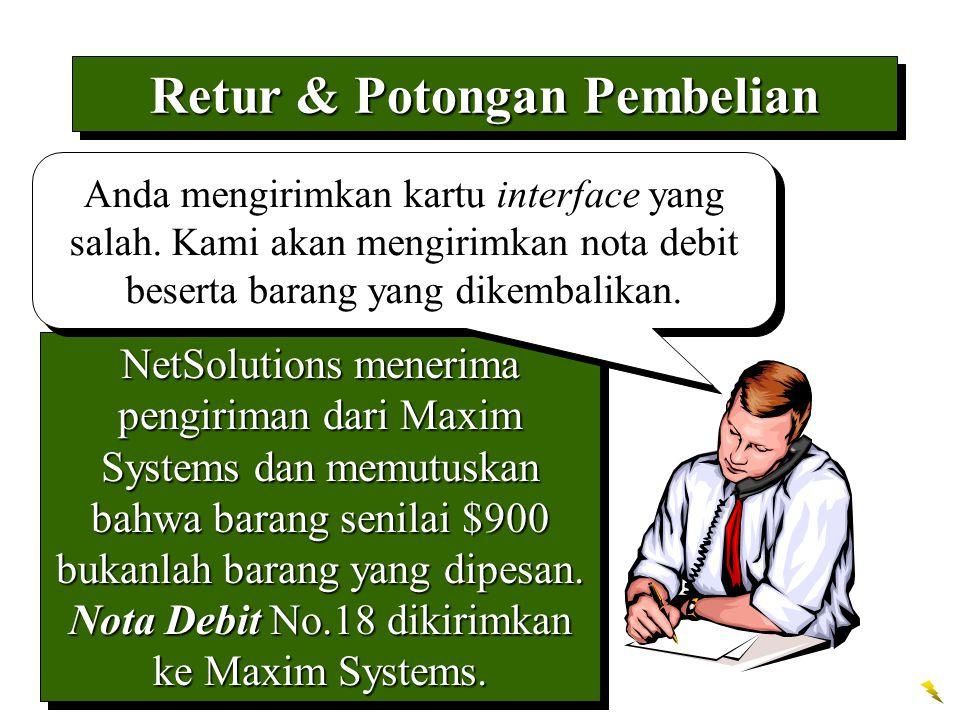 NetSolutions menerima pengiriman dari Maxim Systems dan memutuskan bahwa barang senilai $900 bukanlah barang yang dipesan. Nota Debit No.18 dikirimkan