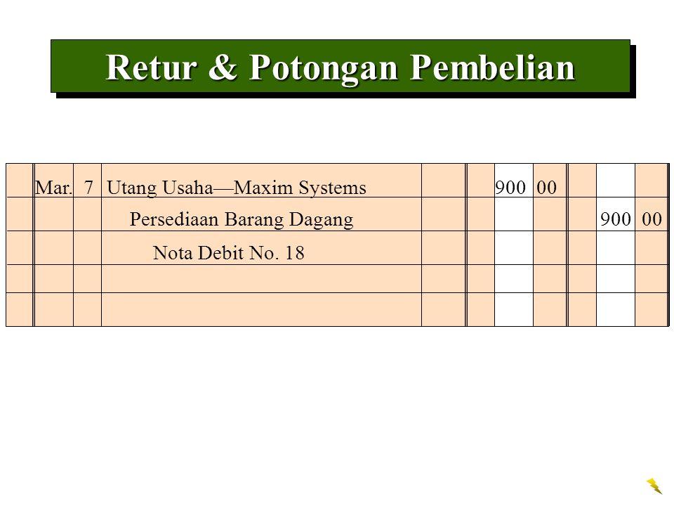 Mar. 7Utang Usaha—Maxim Systems 900 00 Nota Debit No. 18 Persediaan Barang Dagang 900 00 Retur & Potongan Pembelian