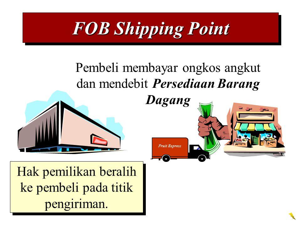 FOB Shipping Point Pembeli membayar ongkos angkut dan mendebit Persediaan Barang Dagang Fruit Express Hak pemilikan beralih ke pembeli pada titik peng