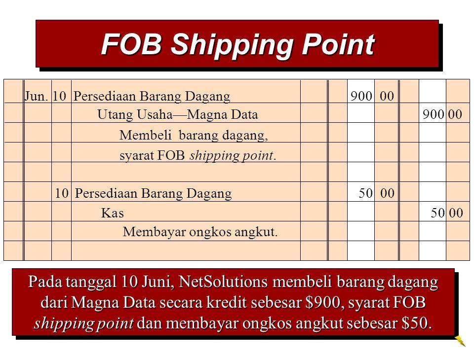 Jun. 10 Persediaan Barang Dagang 900 00 Membeli barang dagang, syarat FOB shipping point. Utang Usaha—Magna Data 900 00 10Persediaan Barang Dagang 50