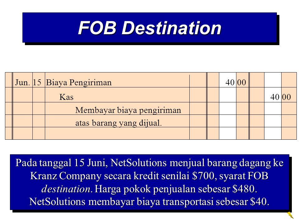 FOB Destination Jun. 15 Biaya Pengiriman 40 00 Kas 40 00 Membayar biaya pengiriman atas barang yang dijual. Pada tanggal 15 Juni, NetSolutions menjual