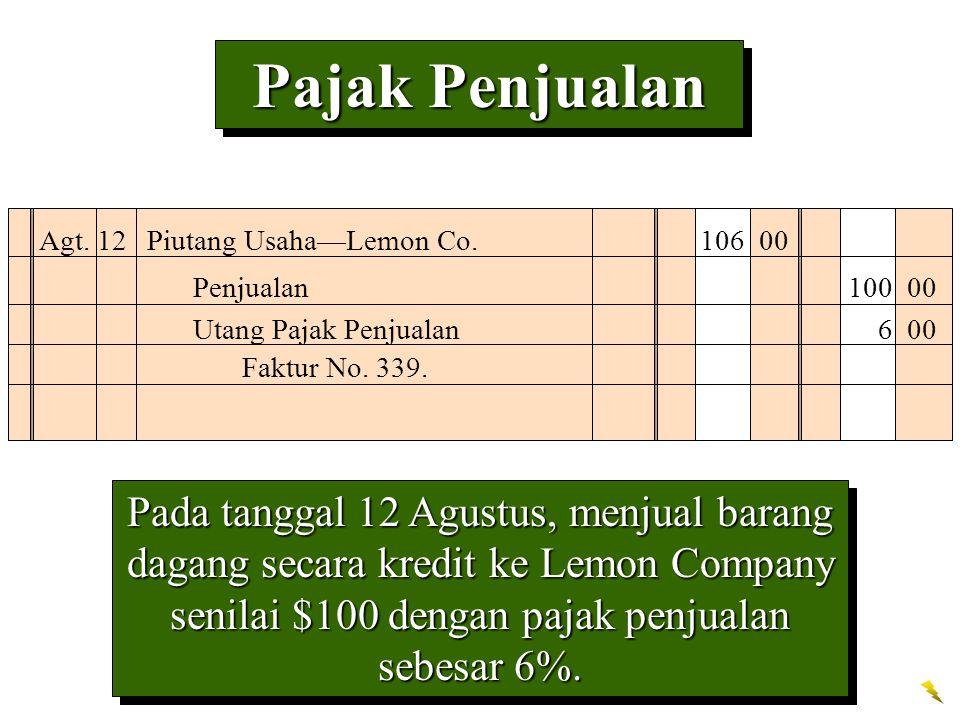 Pajak Penjualan Pada tanggal 12 Agustus, menjual barang dagang secara kredit ke Lemon Company senilai $100 dengan pajak penjualan sebesar 6%. Agt. 12