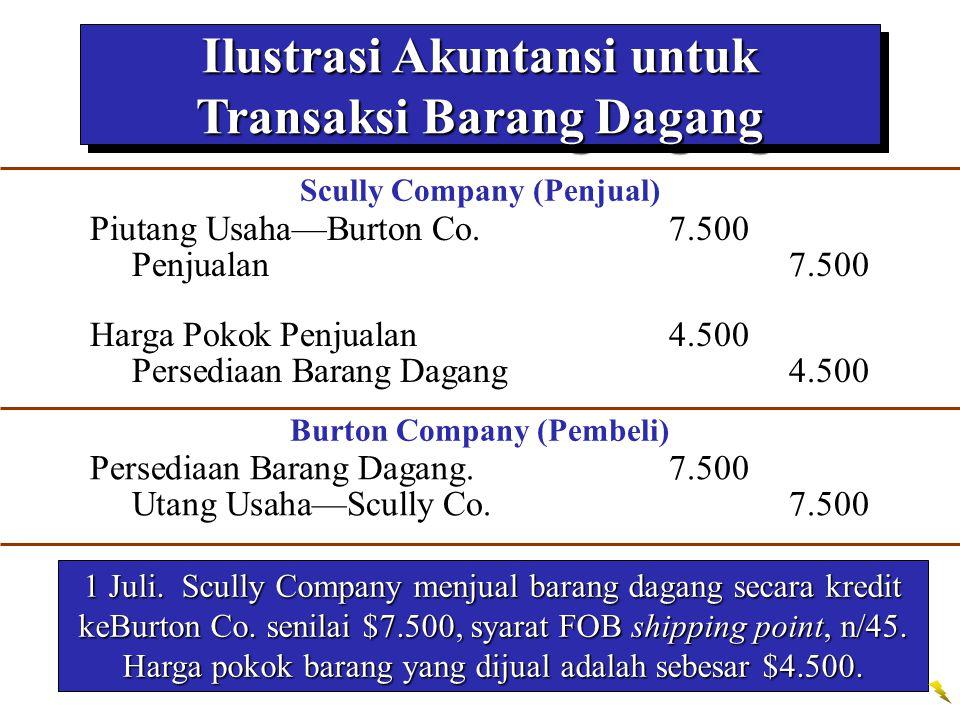 Ilustrasi Akuntansi untuk Transaksi Barang Dagang 1 Juli. Scully Company menjual barang dagang secara kredit keBurton Co. senilai $7.500, syarat FOB s