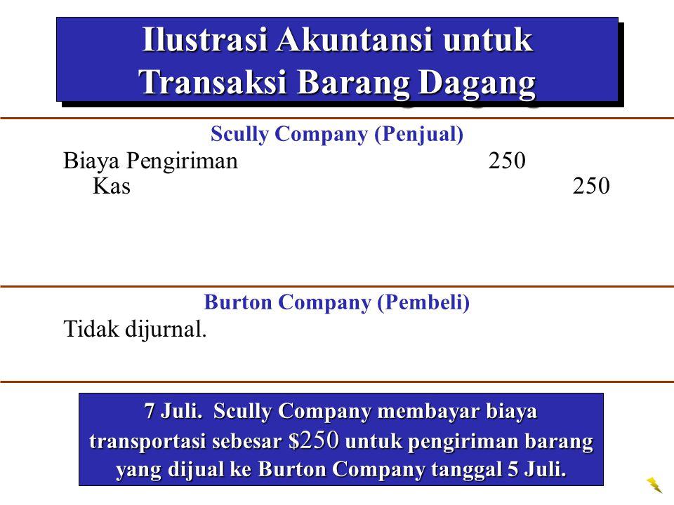 Ilustrasi Akuntansi untuk Transaksi Barang Dagang 7 Juli. Scully Company membayar biaya transportasi sebesar $ 250 untuk pengiriman barang yang dijual
