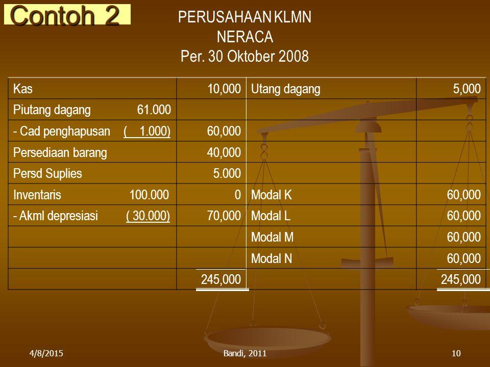 4/8/2015Bandi, 201110 Contoh 2 PERUSAHAAN KLMN NERACA Per. 30 Oktober 2008 Kas10,000Utang dagang5,000 Piutang dagang 61.000 - Cad penghapusan ( 1.000)