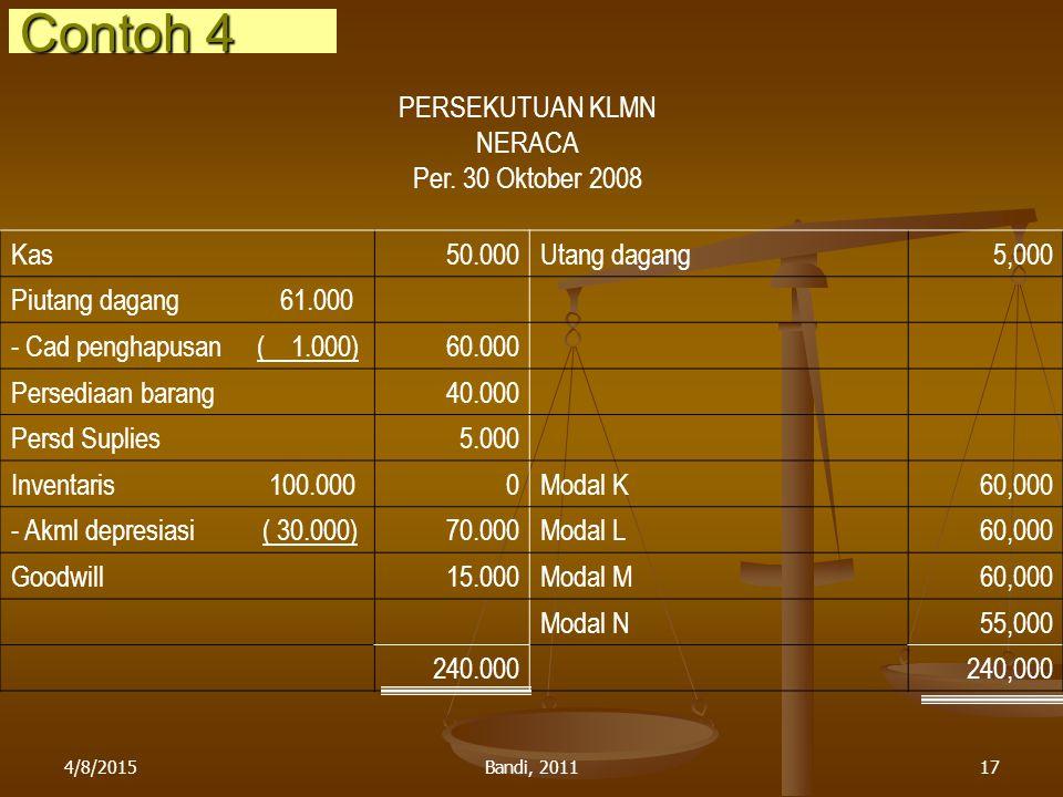 4/8/2015Bandi, 201117 PERSEKUTUAN KLMN NERACA Per. 30 Oktober 2008 Kas50.000Utang dagang5,000 Piutang dagang 61.000 - Cad penghapusan ( 1.000)60.000 P
