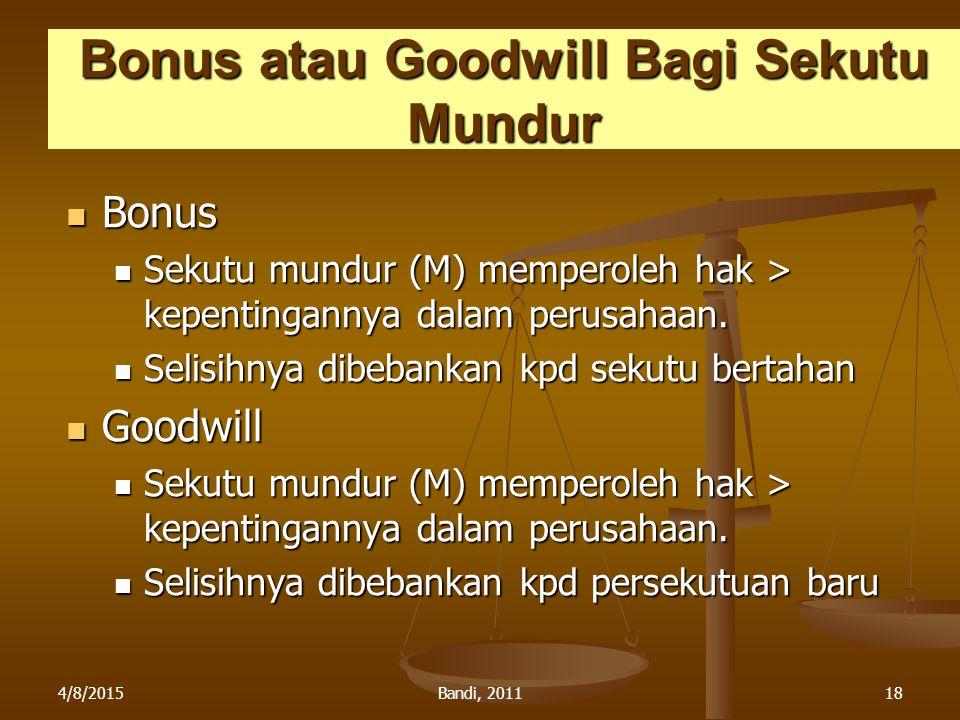 4/8/2015Bandi, 201118 Bonus atau Goodwill Bagi Sekutu Mundur Bonus Bonus Sekutu mundur (M) memperoleh hak > kepentingannya dalam perusahaan. Sekutu mu