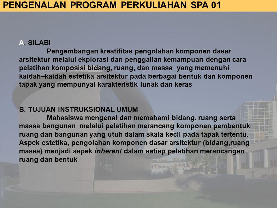 PENGENALAN PROGRAM PERKULIAHAN SPA 01 A.