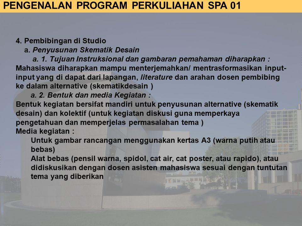PENGENALAN PROGRAM PERKULIAHAN SPA 01 4.Pembibingan di Studio a.