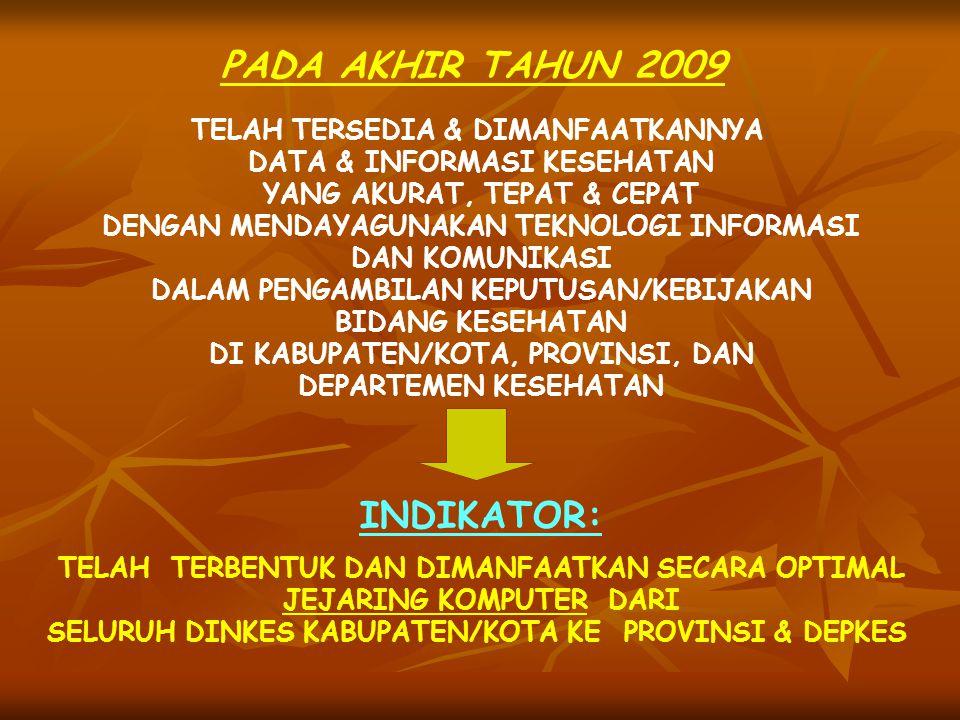 PADA AKHIR TAHUN 2009 TELAH TERSEDIA & DIMANFAATKANNYA DATA & INFORMASI KESEHATAN YANG AKURAT, TEPAT & CEPAT DENGAN MENDAYAGUNAKAN TEKNOLOGI INFORMASI