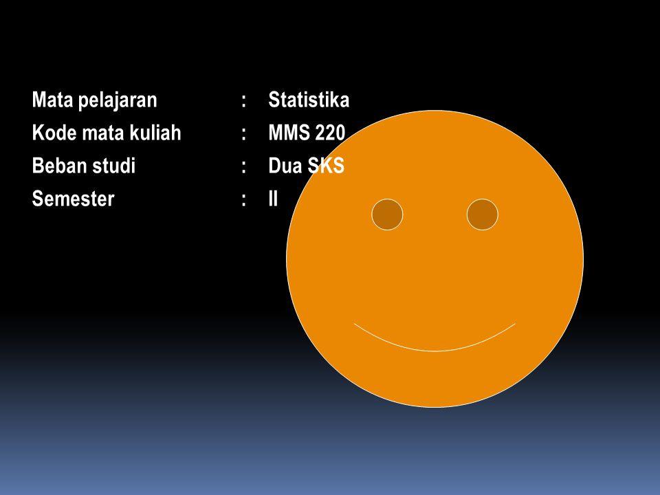 Mata pelajaran:Statistika Kode mata kuliah:MMS 220 Beban studi:Dua SKS Semester:II