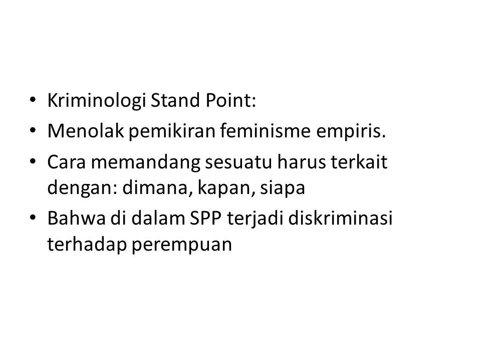 Kriminologi Stand Point: Menolak pemikiran feminisme empiris.