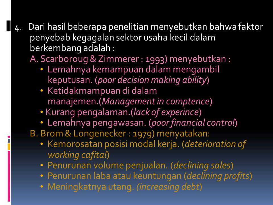 4. Ciri-ciri spesifik UMKM sebagai organisasi ekonomi, diantaranya sebagai berikut : a. Struktur organisasinya sangat sederhana. b. Mempunyai karakter