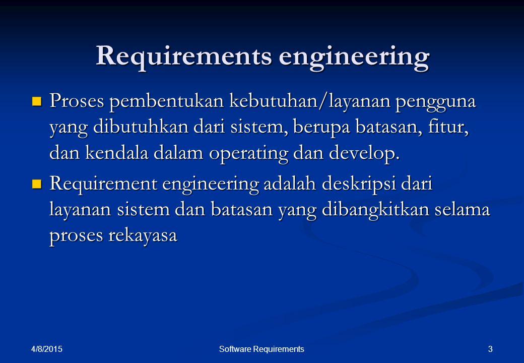 4/8/2015 3Software Requirements Requirements engineering Proses pembentukan kebutuhan/layanan pengguna yang dibutuhkan dari sistem, berupa batasan, fi
