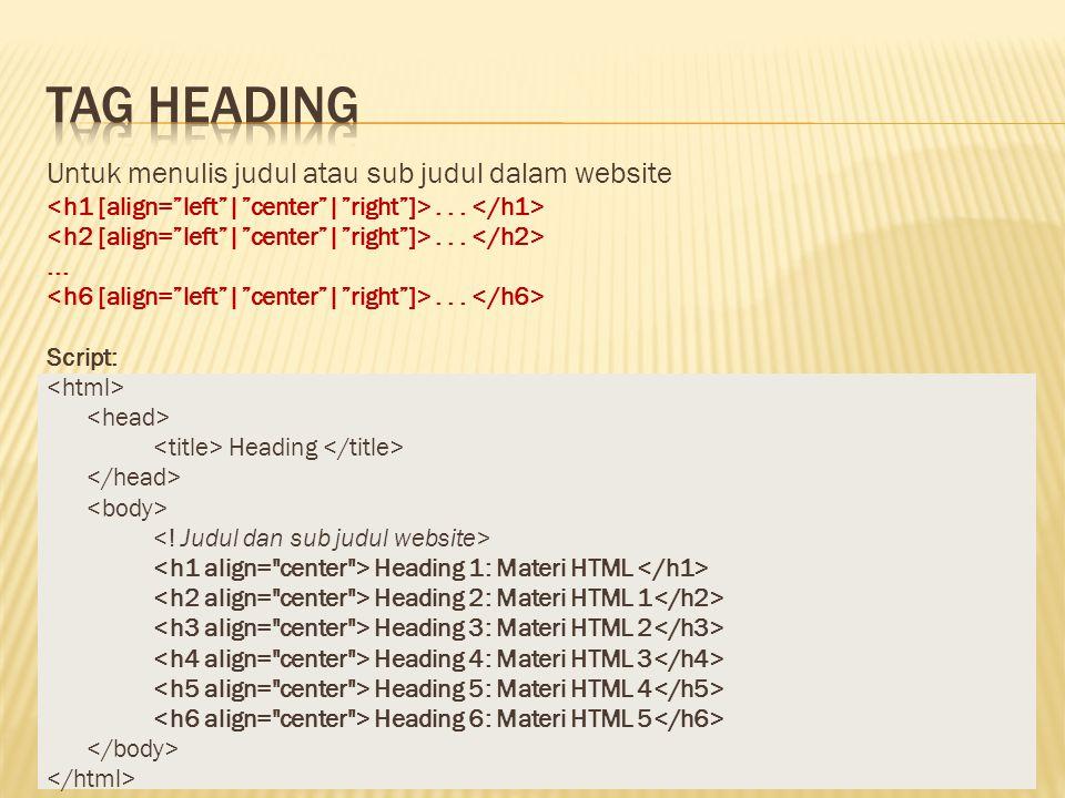 Untuk menulis judul atau sub judul dalam website... Script: Heading Heading 1: Materi HTML Heading 2: Materi HTML 1 Heading 3: Materi HTML 2 Heading 4
