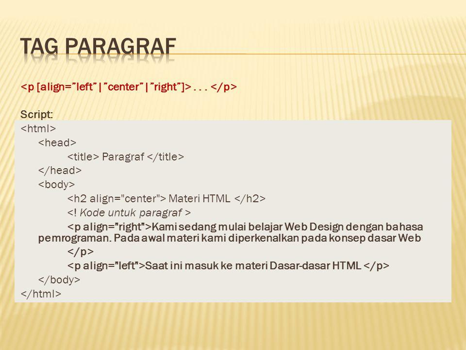 ... Script: Paragraf Materi HTML Kami sedang mulai belajar Web Design dengan bahasa pemrograman. Pada awal materi kami diperkenalkan pada konsep dasar