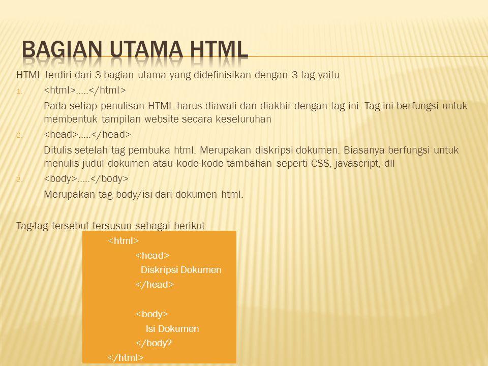 HTML terdiri dari 3 bagian utama yang didefinisikan dengan 3 tag yaitu 1...... Pada setiap penulisan HTML harus diawali dan diakhir dengan tag ini. Ta
