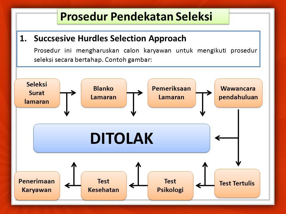 Syarat-syarat Seleksi dan Penempatan 1.Informasi analisis jabatan, yang memberikan diskripsi jabatan, spesifikasi jabatan dan standar-standar prestasi