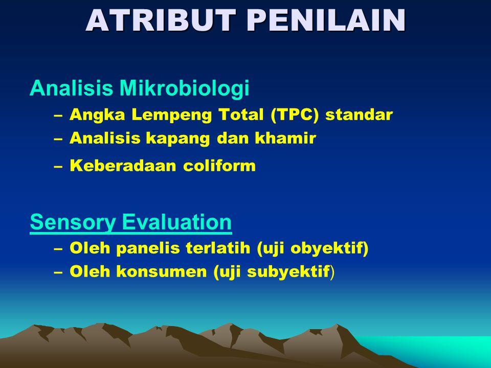 ATRIBUT PENILAIN Analisis Mikrobiologi –Angka Lempeng Total (TPC) standar –Analisis kapang dan khamir –Keberadaan coliform Sensory Evaluation –Oleh pa