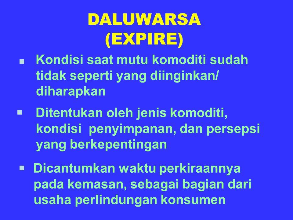 DALUWARSA (EXPIRE) Kondisi saat mutu komoditi sudah tidak seperti yang diinginkan/ diharapkan Ditentukan oleh jenis komoditi, kondisi penyimpanan, dan