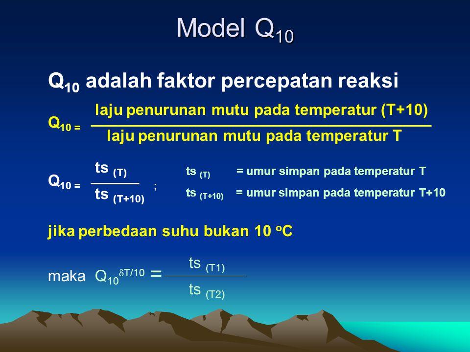 Model Q 10 Q 10 adalah faktor percepatan reaksi laju penurunan mutu pada temperatur (T+10) Q 10 = laju penurunan mutu pada temperatur T ts (T) Q 10 =