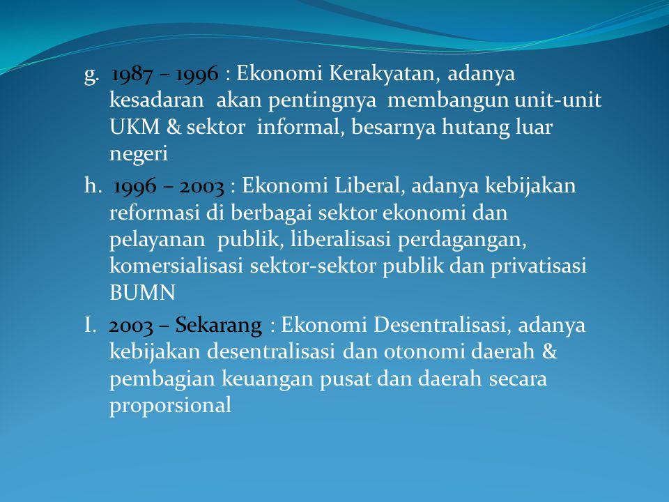 d. 1966 – 1973 : Ekonomi Demokrasi, ditandai dengan perubahan orientasi kebijakan negara yang lebih menekankan pada pembangunan ekonomi, ekonomi menja