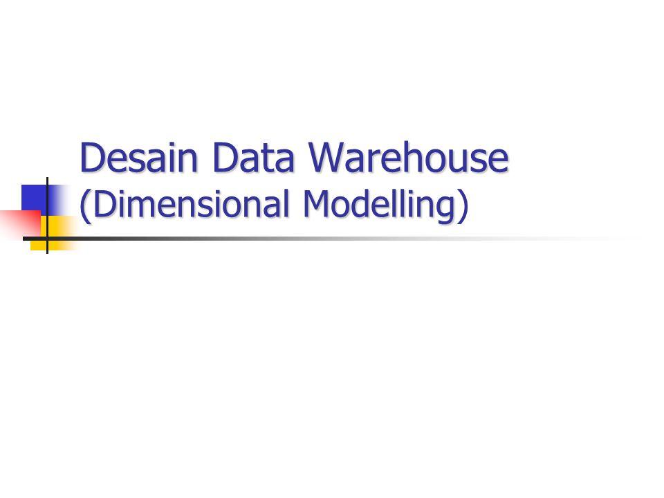 Mendisain Sebuah Data Warehouse Mendisain database untuk data warehouse adalah problem utama dalam mendisain data warehouse Ada dua pendekatan utama dalam perancangan data warehouse Pemodelan dan normalisasi entity relationship (ER) Pemodelan berdimensi