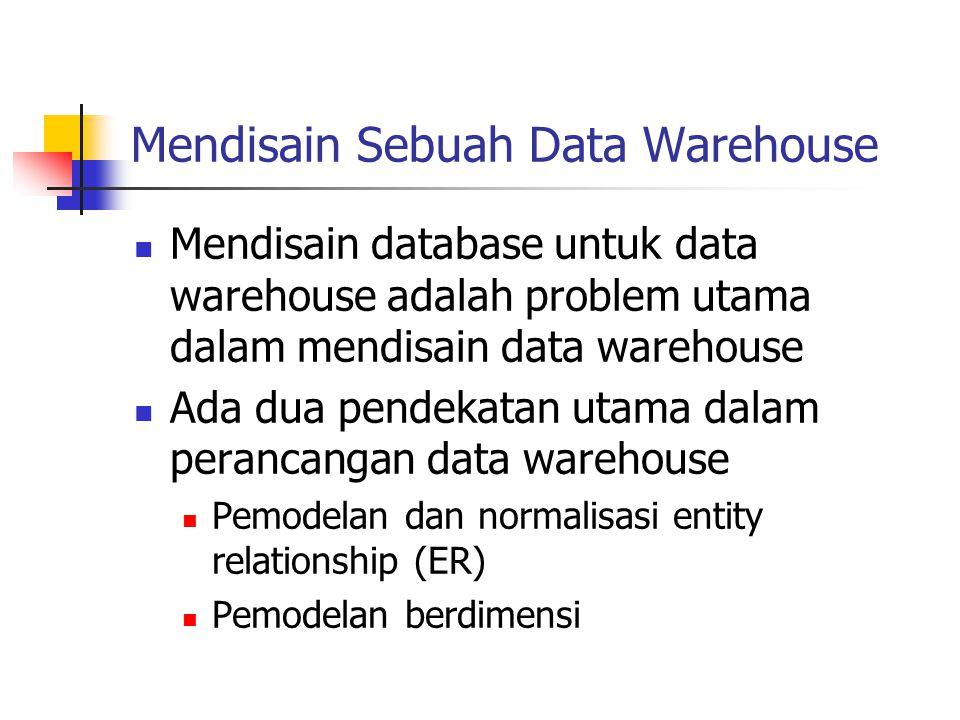 Mendisain Sebuah Data Warehouse Mendisain database untuk data warehouse adalah problem utama dalam mendisain data warehouse Ada dua pendekatan utama d