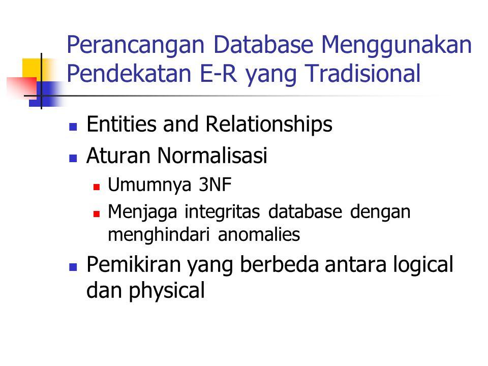 Perancangan Database Menggunakan Pendekatan E-R yang Tradisional Entities and Relationships Aturan Normalisasi Umumnya 3NF Menjaga integritas database