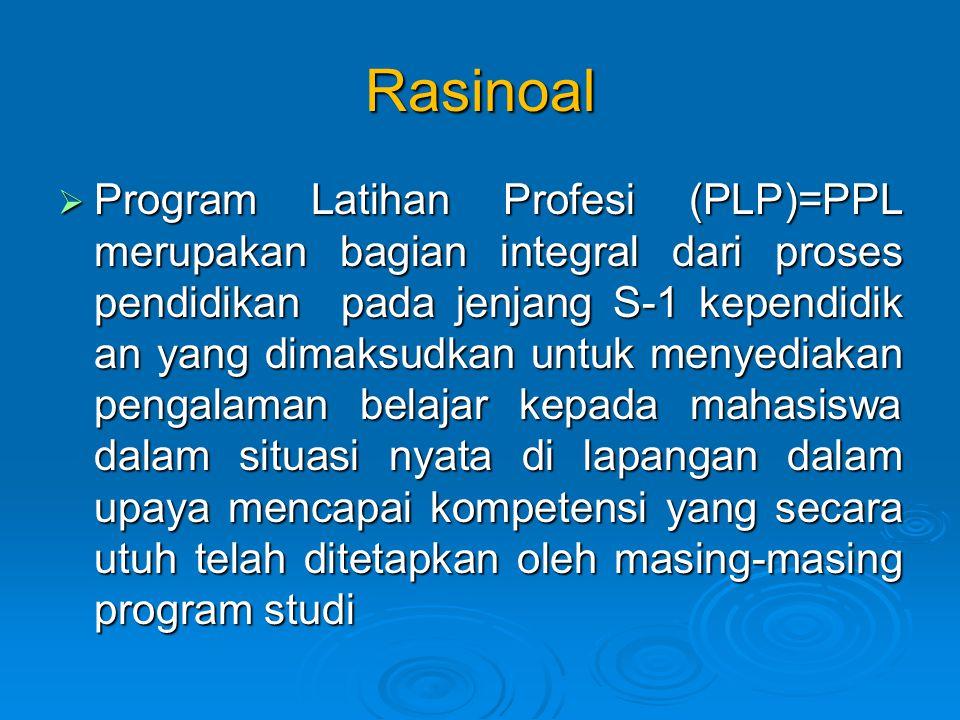 Rasinoal  Program Latihan Profesi (PLP)=PPL merupakan bagian integral dari proses pendidikan pada jenjang S-1 kependidik an yang dimaksudkan untuk menyediakan pengalaman belajar kepada mahasiswa dalam situasi nyata di lapangan dalam upaya mencapai kompetensi yang secara utuh telah ditetapkan oleh masing-masing program studi