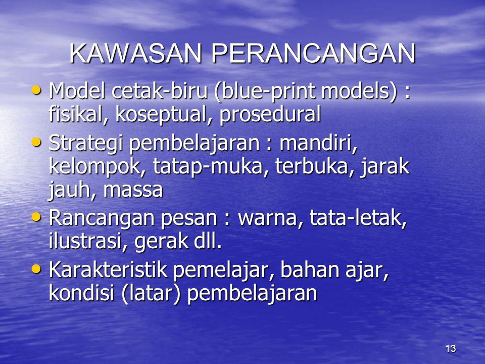 13 KAWASAN PERANCANGAN Model cetak-biru (blue-print models) : fisikal, koseptual, prosedural Model cetak-biru (blue-print models) : fisikal, koseptual
