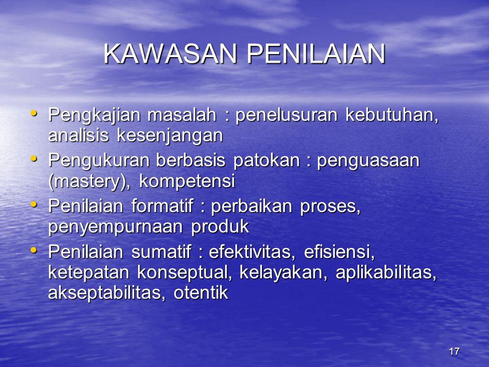 17 KAWASAN PENILAIAN Pengkajian masalah : penelusuran kebutuhan, analisis kesenjangan Pengkajian masalah : penelusuran kebutuhan, analisis kesenjangan