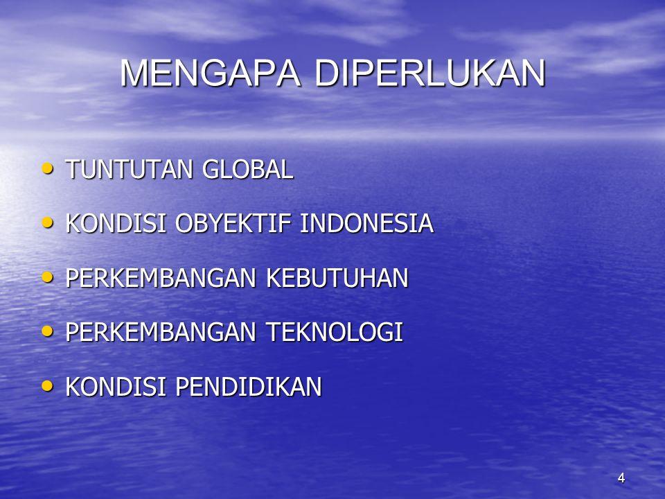4 MENGAPA DIPERLUKAN TUNTUTAN GLOBAL TUNTUTAN GLOBAL KONDISI OBYEKTIF INDONESIA KONDISI OBYEKTIF INDONESIA PERKEMBANGAN KEBUTUHAN PERKEMBANGAN KEBUTUHAN PERKEMBANGAN TEKNOLOGI PERKEMBANGAN TEKNOLOGI KONDISI PENDIDIKAN KONDISI PENDIDIKAN