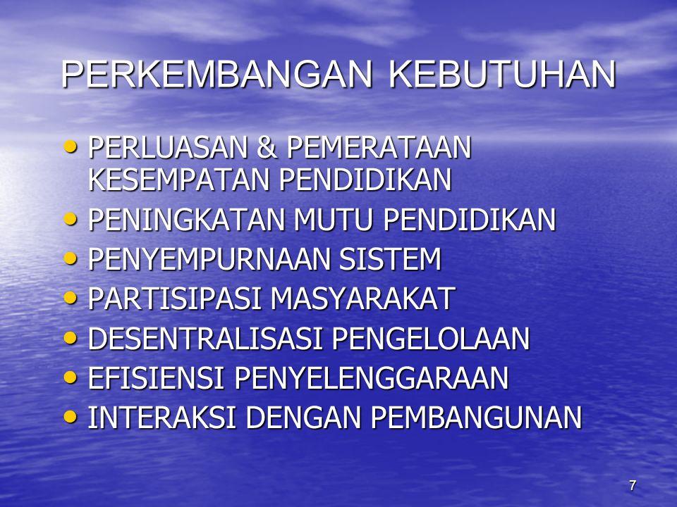 8 PERKEMBANGAAN TEKNOLOGI BERAGAMNYA TEKNOLOGI YANG POTENSIAL BERAGAMNYA TEKNOLOGI YANG POTENSIAL TERSEDIANYA TEKNOLOGI YANG SEMAKIN CANGGIH TERSEDIANYA TEKNOLOGI YANG SEMAKIN CANGGIH POTENSI TEKNOLOGI INFORMASI DAN KOMUNIKASI YANG SANGAT BESAR POTENSI TEKNOLOGI INFORMASI DAN KOMUNIKASI YANG SANGAT BESAR BIAYA SATUAN RELATIF RENDAH DALAM JANGKA PANJANG BIAYA SATUAN RELATIF RENDAH DALAM JANGKA PANJANG TEKNOLOGI = CERMIN KEMAJUAN BUDAYA TEKNOLOGI = CERMIN KEMAJUAN BUDAYA