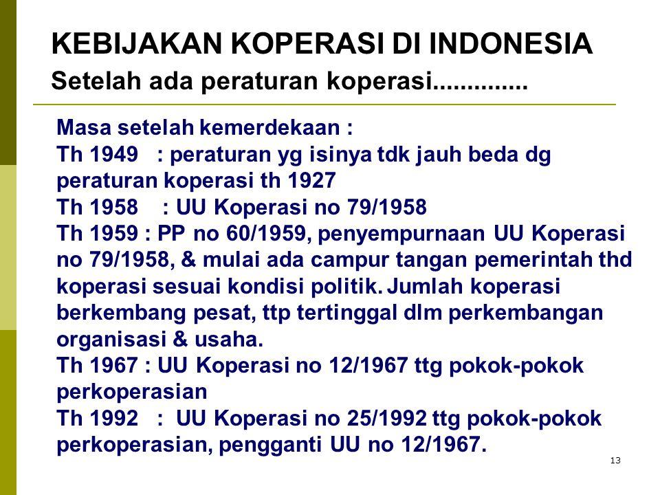 13 Masa setelah kemerdekaan : Th 1949 : peraturan yg isinya tdk jauh beda dg peraturan koperasi th 1927 Th 1958 : UU Koperasi no 79/1958 Th 1959 : PP no 60/1959, penyempurnaan UU Koperasi no 79/1958, & mulai ada campur tangan pemerintah thd koperasi sesuai kondisi politik.