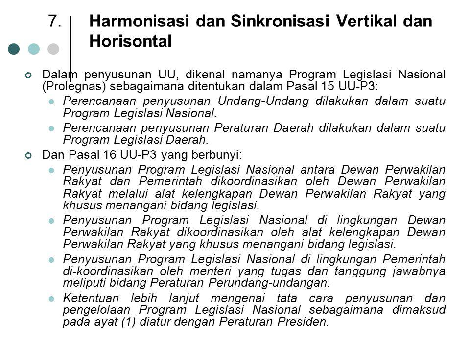 7.Harmonisasi dan Sinkronisasi Vertikal dan Horisontal Dalam penyusunan UU, dikenal namanya Program Legislasi Nasional (Prolegnas) sebagaimana ditentu