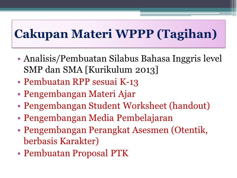 Aktivitas Pembelajaran WPPP Membedah silabus SMP dan SMA [Bahasa Inggris] Membedah semua KD (KD 1 – KD 4): 41 KD pada level SMP dan 35 KD pada level SMA Sajian teori terkait Teks Fungsional/ Genre di SMP/SMA Sajian konsep RPP dan Pendidikan Karakter pada K-13 Sajian tentang PTK