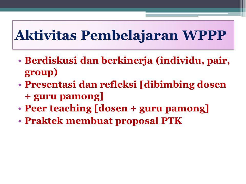 Aktivitas Pembelajaran WPPP Berdiskusi dan berkinerja (individu, pair, group) Presentasi dan refleksi [dibimbing dosen + guru pamong] Peer teaching [d